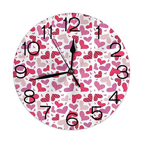 vnsukdlfg Round Wall Clocks Home Decorative,Valentines,Doodle Hand Dra