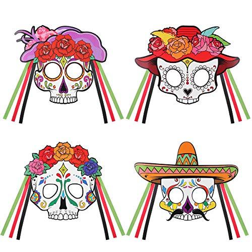 Amosfun Máscara de Esqueleto de Dia dos Mortos Meia Máscara de Caveira de Açúcar DIY Máscara Mexicana Fiesta Halloween Fantasia Acessório de Fantasia 4 peças