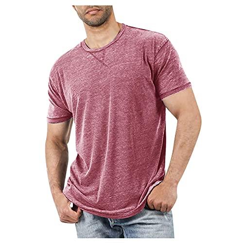 Herren Sommer T-Shirt Kurzarm Rundhals Bluse Hemd Casual Basic Tshirt Einfarbig/Druck Kurzarmshirt Oversize Longshirt Tees Shirts
