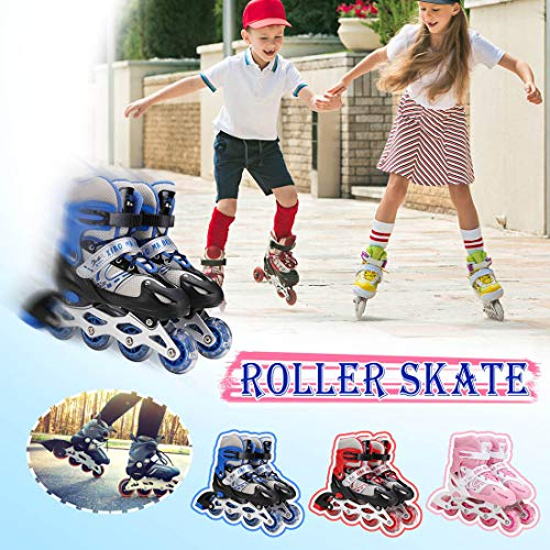 XIUWOUG Adjustable Inline Skates,Roller Skates with Illuminating Light Up Wheels,ABEC 7 Bearing Roller Blades for Kid,Adults,Men, Women And Teens,Blue,L 39~42(12~adult)