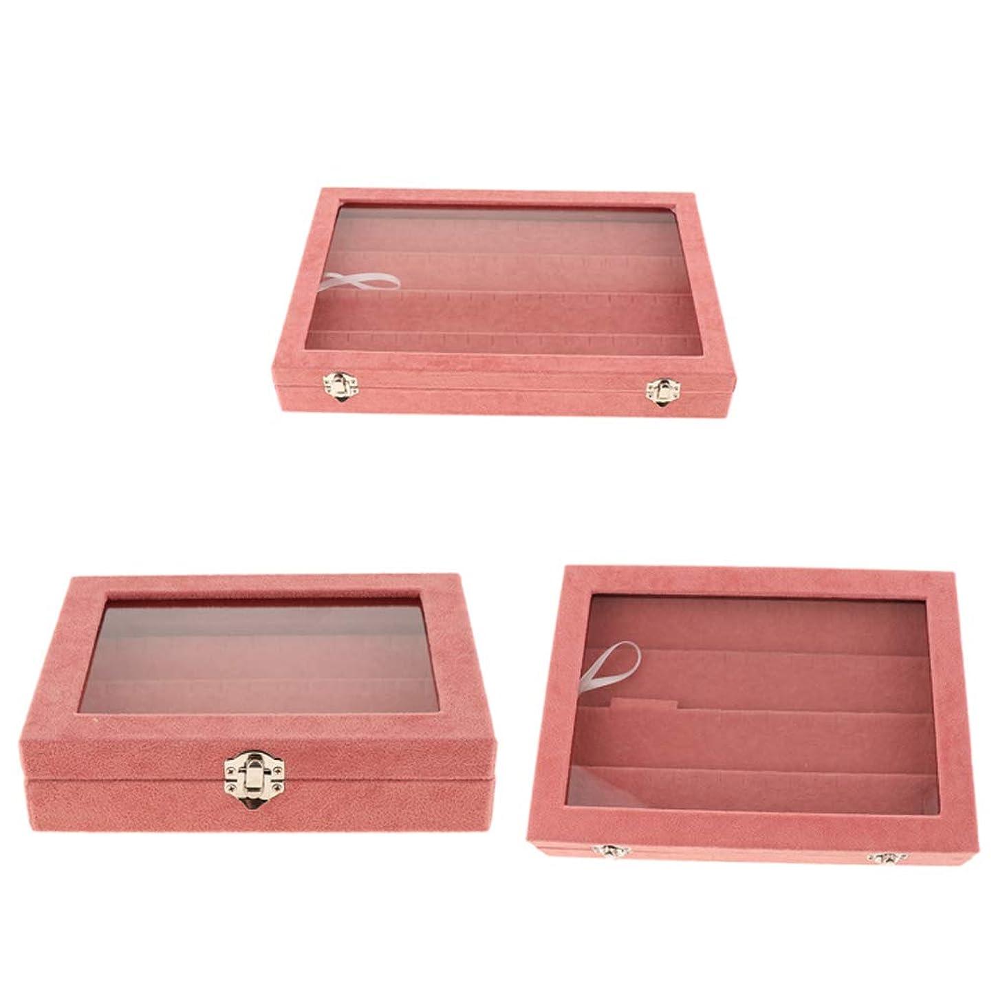 偏心メルボルンいじめっ子gazechimp ジュエリー収納ボックス ケース ボックス スタンド ディスプレイ 耐久性 ピンク 3個セット