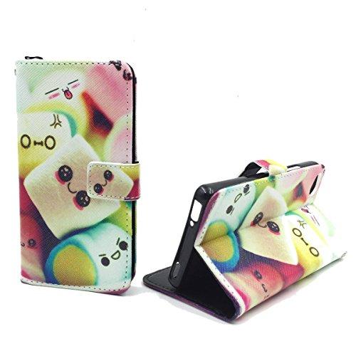 König Design Handyhülle Kompatibel mit ZTE Nubia Z9 Mini Handytasche Schutzhülle Tasche Flip Hülle mit Kreditkartenfächern - Marshmallows