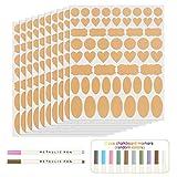 Kesote 10 Hojas de Etiquetas de Papel Kraft y 2 Marcadores Borrables Pegatinas Pequeñas de Pizarra Autoadhesivas para Tarros Decoración (570 Piezas)