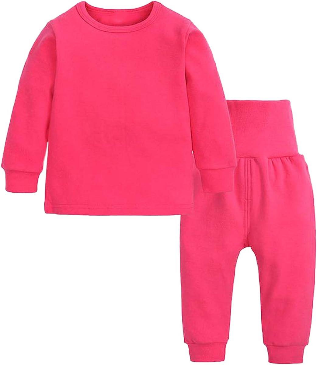 Toddler Girl's Thermal Underwear Set Base Layer Top & Bottom Set, Pink, 18-24 Months = Tag 100