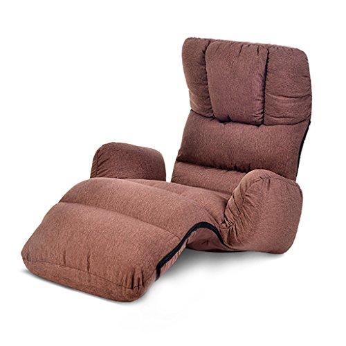 ZCJB Accueil Réglable Pliant Canapé Paresseux Détendre Chaise De Sol Et Gaming Chaise Coussin De Plancher Multiangle Canapé Lits pour Midi Repos/Regarder TV/Jeux/Sieste (Café) (Couleur : Café)