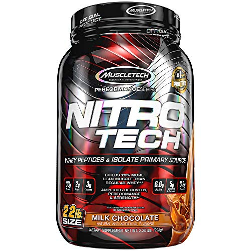 Whey Protein Powder, MuscleTech Nitro-Tech Whey Protein Isolate and Peptides, Lean Protein Powder with Creatine, Sports Nutrition Protein Powder for Men & Women, Milk Chocolate, 998g (22 Servings)
