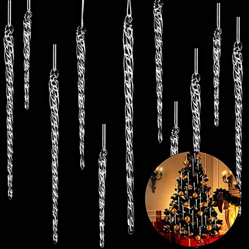 Clear Glass Icicle 3.5 - 7.8 Inch Twisted Clear Glass Icicle Christmas Ornaments Icicle Decorations Hanging (54)