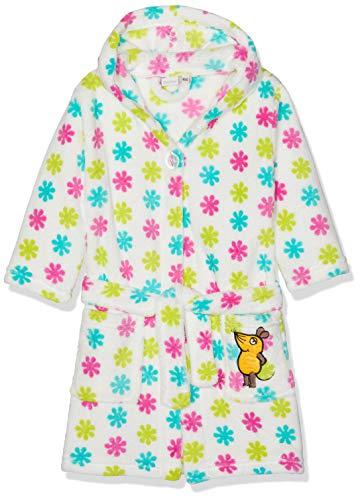 Playshoes DIE MAUS Fleece-Bademantel Die MAUS Blumen Peignoir, Multicolore (Weiß/Rosa 586), 86/92 Bébé Fille
