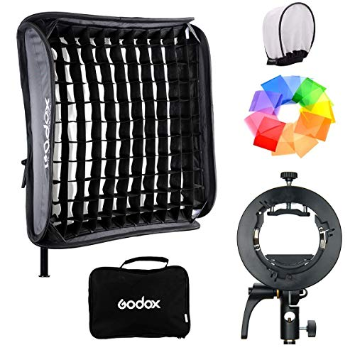 Godox S2 Speedlite Bracket with 24Inx24In Softbox and Honeycomb Grid Kit for Godox V1 Series, AD200Pro, AD200, AD400Pro, V860II Series, TT350 Series, W/Pergear Diffuser (Softbox 60CMx60cm kit)