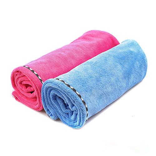 Juego de Dos Toallas de Microfibra Ultra absorbentes para secar Pelo, Turbante con aro elástico, Toalla Ligera Absorbente rápida (Azul y Rosa)