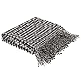 Glitzhome Throw Blanket for Couch Soft Comfortable Houndstooth Bed Throw Blanket Classic Throw Blanket with Tassels for Sofa Reversible Wrap Shawl Scarf for Men Women, 60 x 50 Inches