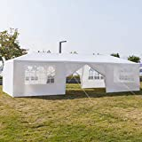 Guyanee 10'x30' Outdoor Patio Wedding Party Tent Heavy Duty Canopy Tent Gazebo, Waterproof UV Protection Tent with Spiral Tubes White(8 Removable Sidewalls 2 Doors)