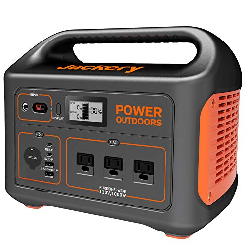 Jackery Portable Power Station Explorer 1000, 1002Wh Solar Generator (Solar Panel Optional) with 3x110V/1000W AC Outlets, Solar Mobile Lithium Battery Pack for Outdoor RV/Van Camping, Emergency Generators