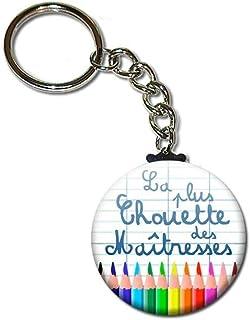 La Plus Chouette des Maîtresses Porte Clés Chaînette 3,8 centimètres Idée Cadeau Accessoire Fin d'année Scolaire École Noë...