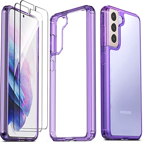 Ferilinso for Samsung Galaxy S21 5G Case with 2 Pack Tempered Glass Screen Protector [Hard PC Back+TPU Flexible Frame] [Military Grade Protection] [10X Anti-Yellowing] [Full Body Coverage]-PurpleCover