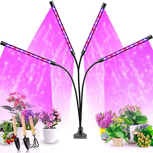 Pflanzenlampe LED, Pflanzenlicht, Pflanzenleuchte 80W Wachsen Licht mit 40 COB Leds, Wachstumslampe Vollspektrum Wachstumslampe für Zimmerpflanzen mit Zeitschaltuhr, Plant Lights Stufenloses Dimmen.