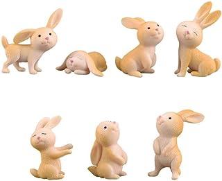 Artibetter 7 Piezas de Adornos de Jardín en Miniatura Figuras de Animales en Miniatura Conejo Micro Decoración de Paisaje ...