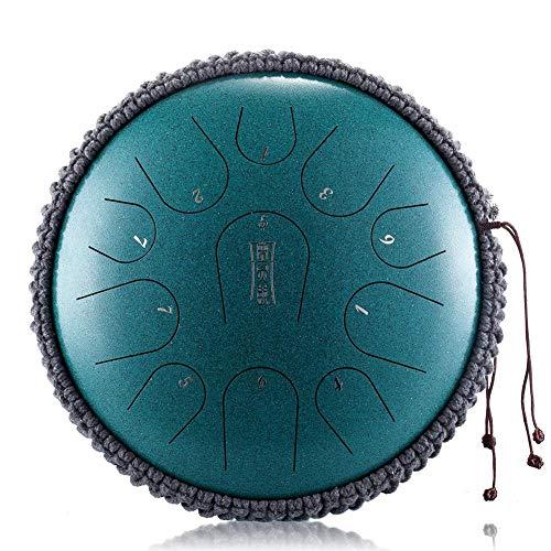 Rungao - Tambor de mano de acero de 13 pulgadas, 15 notas, instrumento de percusión, tambor de mano con mazos de tambor (verde malaquita)