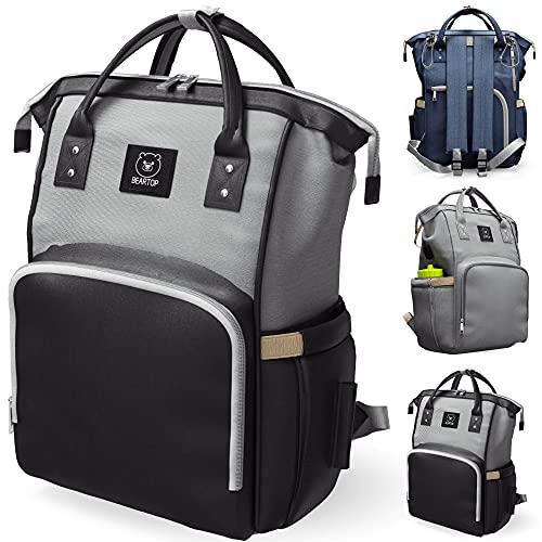 Wickeltasche Rucksack groß von BEARTOP | inkl. Wickelunterlage in grau, schwarz & mehr | Mommy Bag mit viel Stauraum & Taschen | mit Nass- & Isolierfach | Zufriedenheitsgarantie (3 Jahre)*