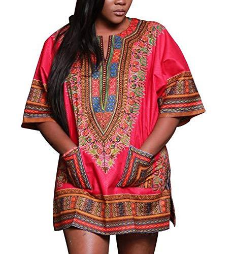 kewing Traditionelle afrikanische Drucke Kleid Dashiki Hemd 3/4 Ärmel Oberteile Afrika Glückliche Kleider