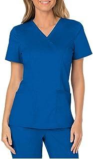Zilosconcy Arbeitskleidung Unisex Kurzarm T-Shirt Tops V-Ausschnitt Pflege Arzt Uniform Berufsbekleidung Krankenschwester Kleidung Damen Uniformen Oberteil mit Tasche