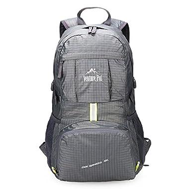 Venture Pal Lightweight Packable Durable Travel Hiking Backpack Daypack (Grey)