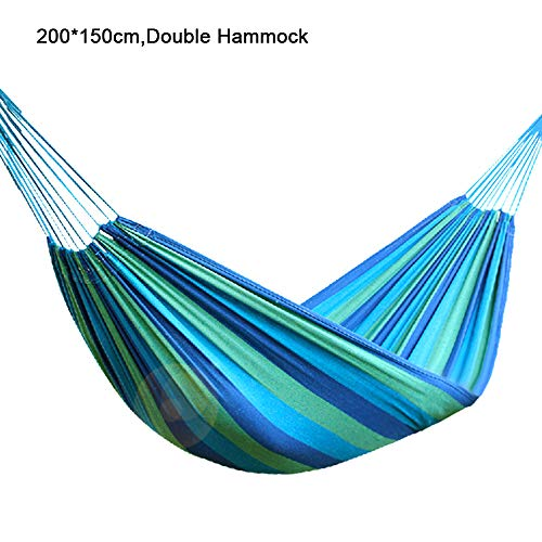MIMI KING Portable Cammping Hammock Multi-Color Striped Thick Canvas Lightweight for Travel Hiking Beach Backyard Use,Blue,Double