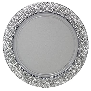 Posh Setting Clear Charger Plates, Silver Hammered Design, Medium Weight 13 inch, Round Plastic Chargers 10 pack