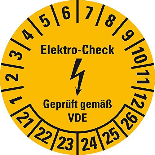 LEMAX® Prüfplakette Elektro-Check,VDE,21-26,gelb,Dokumentenfolie,Ø 30mm,18/Bogen