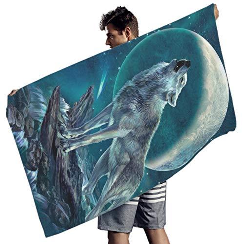 Wraill Toalla de playa con diseño de animales, lobo, luna, playa, picnic, para mujer, niños, fitness, deporte, toalla de baño, multiusos, para colgar, manta de picnic, color blanco, 150 x 75 cm