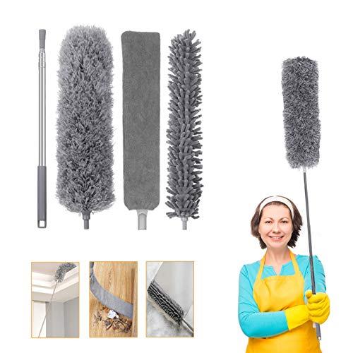 Plumero de microfibra, plumero extensible para techo alto, kit de limpieza plumero con barra de extensión (29.9-98.4in), flexible y lavable para limpiar ventilador de techo, persianas, muebles y coches
