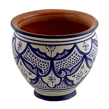 Flower Pot Moroccan Spanish Garden Drain Hole Ceramic Planter Handmade Blue White
