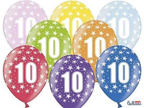 Ballons de Baudruche 10ème Anniversaire Metallic Mix (30cm)