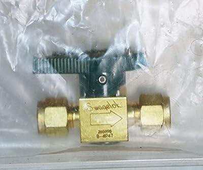 "Swagelok B-4P4T Brass Quarter-Turn Instrument Plug Valve, 1/4"" Tube Fitting, 1.6 Cv by Swagelok Company"