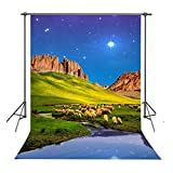 FUERMOR Nature Landscape Background 5x7ft Farm Sheep Mountain and River Photography Backdrop Room Mural Photo Props HXFU230
