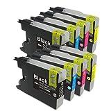 むさしのメディア BROTHER(ブラザー) LC12-4PKx2 (4色セットx2) 互換インクカートリッジ
