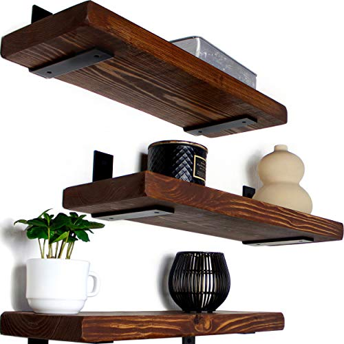 Rustic Wood Floating Shelves - Wooden 3 Tier Wall Shelf - Natural Pine, Oil Finish, Farmhouse Shelfs Wall Mounted for Bathroom Kitchen Bedroom Living Room, Set of 3 (Dark Walnut, 17' x 5.9')
