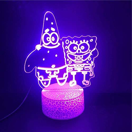 BTEVX 3D-Illusionslampe führte Nachtlicht Big Star und SpongeBob Cartoon-Hosen Bestes Geschenk für Kinder Atmosphäre Bright Base Party USB Home Holiday Geschenke