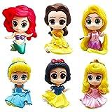 Princesa Cake Topper Hilloly 6 PCS Princesa Sirena Decoración de Tartas Caricatura Cumpleaños Topper de Tarta Mini Figuras de Princesa Modelo de Muñeca de Princesa Toppers para Tartas