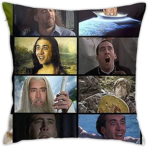 IUBBKI Funda de Almohada Nicolas Cage, Your My National Treasure '(Bla) Funda de Almohada Funda de Almohada para el Suelo Cojín para sofá Funda de cojín Respaldo sobre el cojín del Asiento Interior