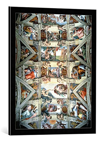 "kunst für alle Framed Art Print: Michelangelo Buonarroti Sistine Chapel Ceiling and lunettes 1508-12"" - Decorative Fine Art Poster, Picture with Frame, 21.7x27.6 inch / 55x70 cm, Black/Edge Grey"