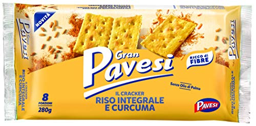 Gran Pavesi Cracker Riso Integrale e Curcuma brauner Reis und Kurkuma reich an Ballaststoffen ohne Palmöl 280g
