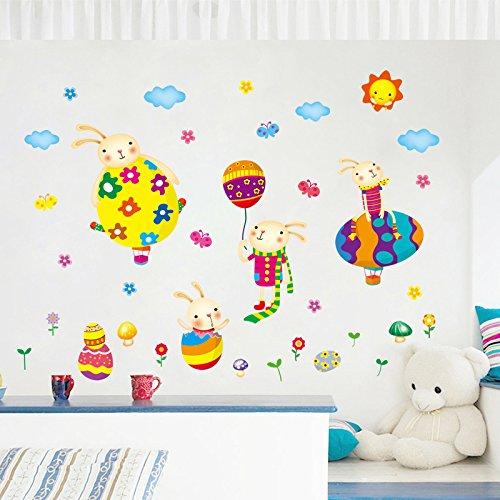 Wall Sticker ZOZOSO Farbe Lindo Huevos und Conejito Globo Nubs Niños Salat Pegatinas De Pared Decorativos Kinderzimmer Babyzimmer Dormitorio Diy Dibujos Animados Tier Calcomanías