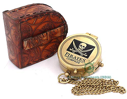 Pirate Compass W/Case/Pirates of Caribbean Jack Sparrow Compass/Best Gift Idea for Boy,Girl