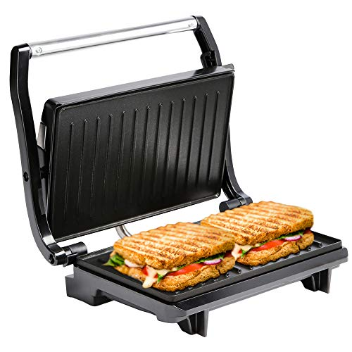 NETTA Panini & Sandwich Press - 2 Slice Non-Stick Plates Sandwich Toaster - 700W Toastie Maker - Electric Health Grill - Stainless Steel - Easy to Clean