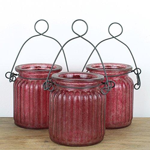 Vintage Bougeoir en verre avec suspension en métal (lot de trois, Choix de couleurs), Red
