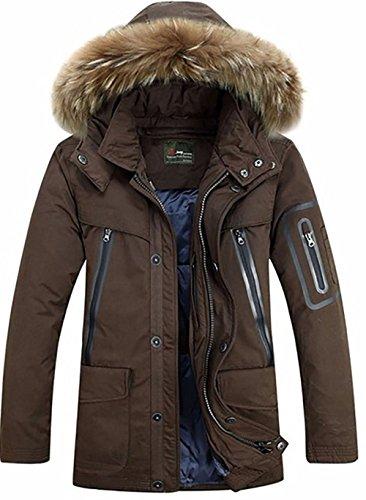 BININBOX® Mode Hommes Manteau de Duvet Down Jacket Parka avec Capuche Manteau d'hiver en Fourrure Amovible (Français XL/Fabricant GR.3XL, café)