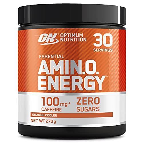Optimum Nutrition Amino Energy Pre Workout en Polvo, Bebida Energética con Beta Alanina, Vitamina C, Cafeína, Aminoacidos Incluyendo BCAA, Orange Cooler, 30 Porciones, 270g, Embalaje Puede Variar