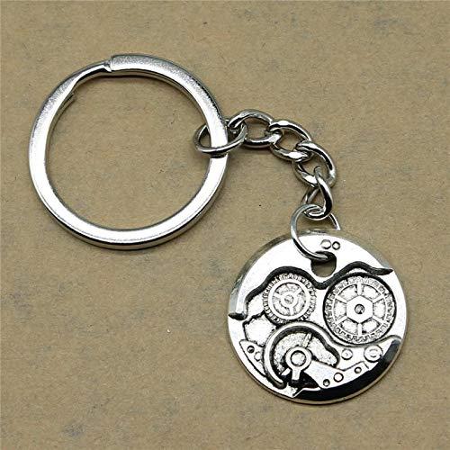 JLZK Motor Schlüsselanhänger Gear Steampunk Hochzeitsgeschenke für Gäste Souvenirs 25mm Anhänger Silber Farbe