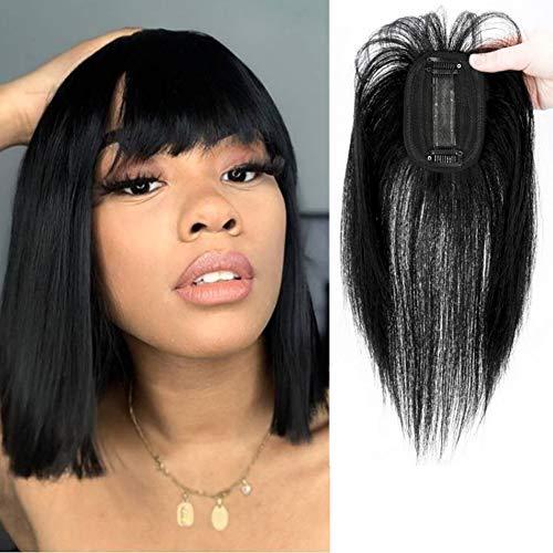 10Inch Short Topper Hair Piece Human Hair Silk Base Closure Human Hair Topper with Bangs Clip in Hairpiece Top Hair Extention Clip Hair Toppers for Women Natural Black 2.76'x3.93'